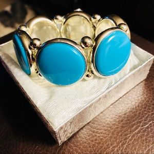 Lovely Aqua & Silver Statement Bracelet